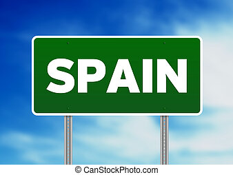 Spain Highway Sign - Green Spain highway sign on Cloud...