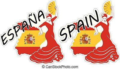 Spain in Stickers - Vector illustrations of stickers of...