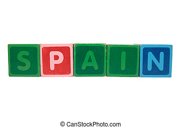 spain in toy block letters