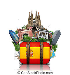 Spain, landmarks Madrid and Barcelona, travel suitcase