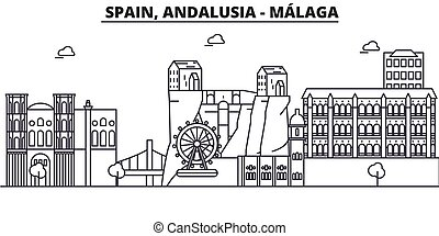 Spain, Malaga, Andalusia architecture line skyline illustration. Linear vector cityscape with famous landmarks, city sights, design icons. Editable strokes