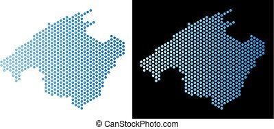 Spain Mallorca Island Map Honeycomb Mosaic - Hexagon Spain...