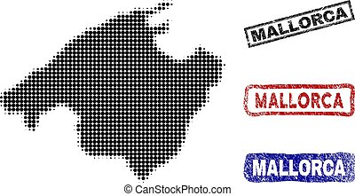 Spain Mallorca Island Map in Halftone Dot Style with Grunge...