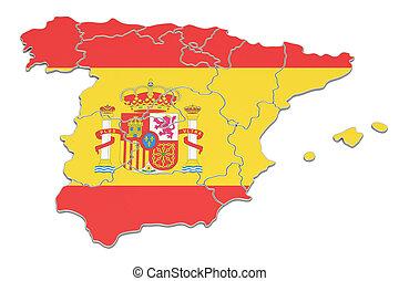 Spain map, 3D rendering