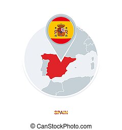 Spain map and flag, vector map icon with highlighted Spain