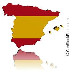 Spain map flag 3d render with reflection illustration