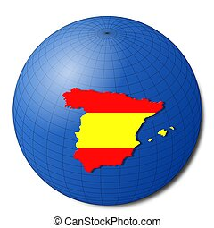 Spain map flag on abstract globe illustration