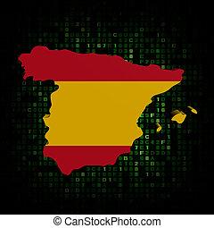 Spain map flag on hex code illustration