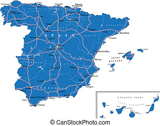 Spain map - Highly detailed vector map of Spain with...