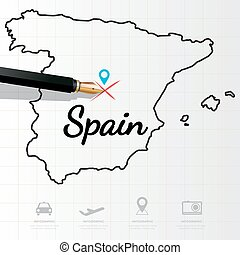 Spain map Infographic