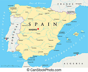 Spain Map - map of Spain with national borders, most...