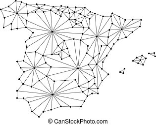 Spain map of polygonal mosaic lines network, rays and dots vector illustration.