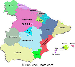 Spain map over white