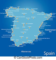 spain map vector illustration art on blue background
