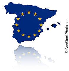 Spain map with EU flag illustration