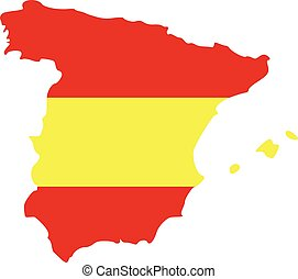 Spain map with flag