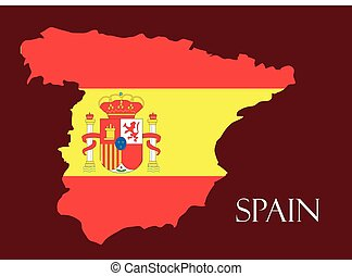 Spain map with flag inside, spain