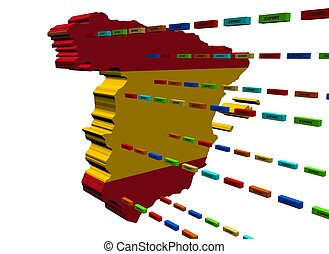Spain map with lines of containers