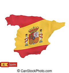 Spain map with waving flag of Spain.