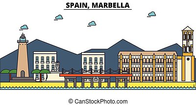 Spain, Marbella. City skyline architecture, buildings,...
