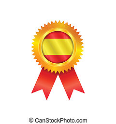 Spain medal flag - Gold medal with the national flag of...