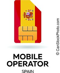 Spain mobile operator. SIM card with flag. Vector illustration.