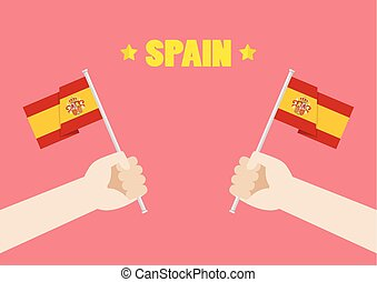 Spain National Day with Hands Holding Up Spain Flags. Vector...