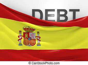 Spain national debt and budget deficit financial crisis.