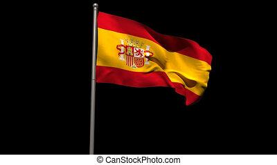 Spain national flag waving on flagpole on black background