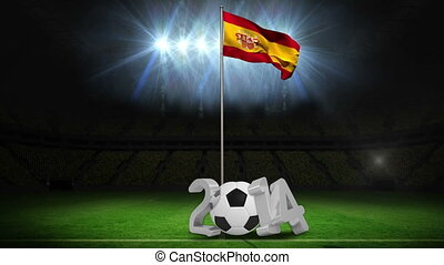 Spain national flag waving on pole with 2014 message on football pitch