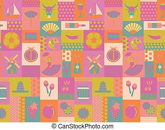 Spain national seamless pattern design