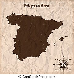Spain old map with grunge and crumpled paper. Vector illustration