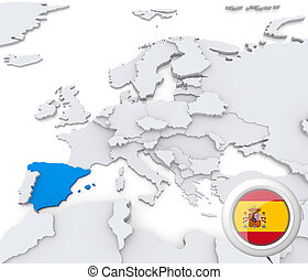 Spain on map of Europe - Highlighted Spain on map of europe ...