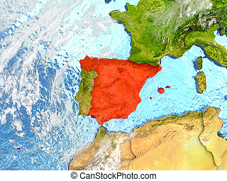 Spain on map with clouds