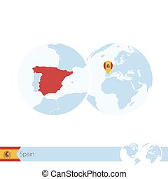 Spain on world globe with flag and regional map of Spain.