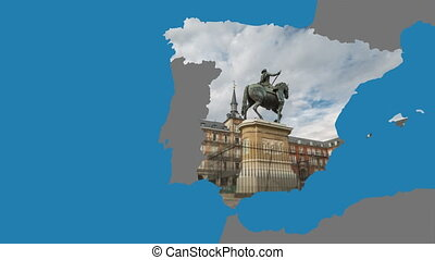 Spain outline with loopable Madrid time-lapse - Spain...