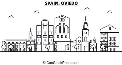 Spain, Oviedo architecture line skyline illustration. Linear...