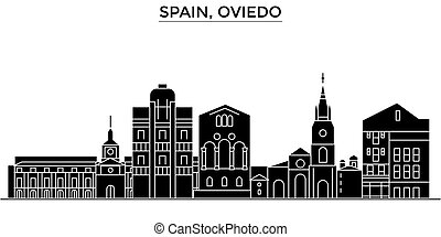 Spain, Oviedo architecture vector city skyline, travel...