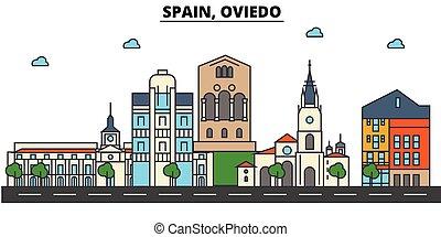 Spain, Oviedo. City skyline architecture, buildings,...