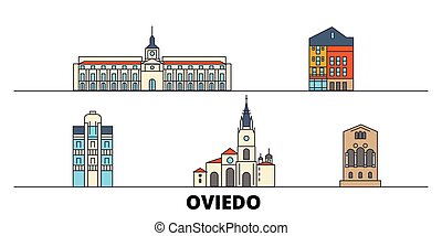 Spain, Oviedo flat landmarks vector illustration. Spain,...