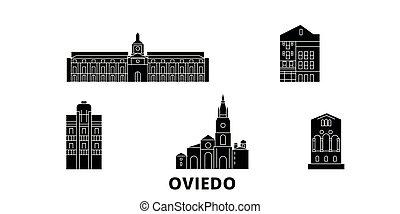 Spain, Oviedo flat travel skyline set. Spain, Oviedo black...