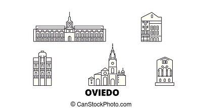 Spain, Oviedo line travel skyline set. Spain, Oviedo outline...