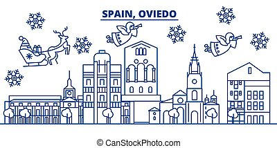 Spain, Oviedo winter city skyline. Merry Christmas, Happy...