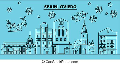 Spain, Oviedo winter holidays skyline. Merry Christmas,...