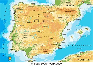 Spain physical map - Highly detailed physical map of...
