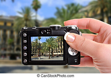 Spain plaza - taking a picture of a Spanish plaza with ...