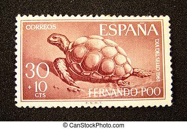 Spain Postage Stamp - Spain postage stamp with turtle on...
