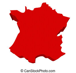 Spain Red 3d Europe Map Isolated