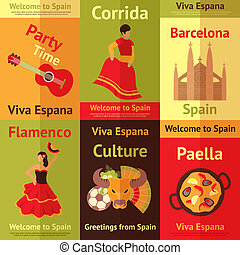 Spain retro posters set - Spain travel spanish culture...