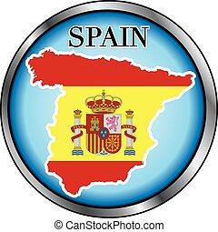 Spain Round Button